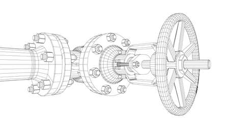 Industrial valve. Detailed vector illustration on white background. Vector rendering of 3d. Wire-frame style Vectores