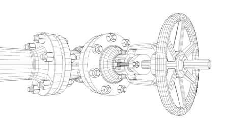 Zawór przemysłowy. Szczegółowa wektorowa ilustracja na białym tle. Wektorowy rendering 3d. Styl ramek drucianych