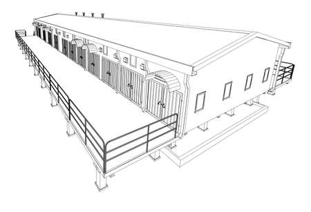 pier: Wire-frame industrial building Illustration