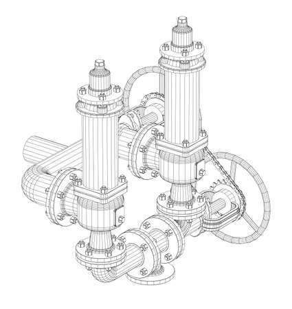 fitting: Wire-frame industrial equipment. EPS 10 vector format. Vector rendering of 3d