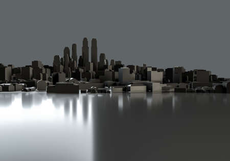 Black abstract city. Template for your design. 3d illustration