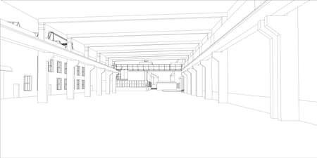 Industrial buildings. Vector rendering of 3d. Wire-frame style Çizim