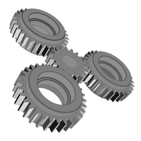 Three-dimensional toothed wheels. Vector rendering of 3d Illustration