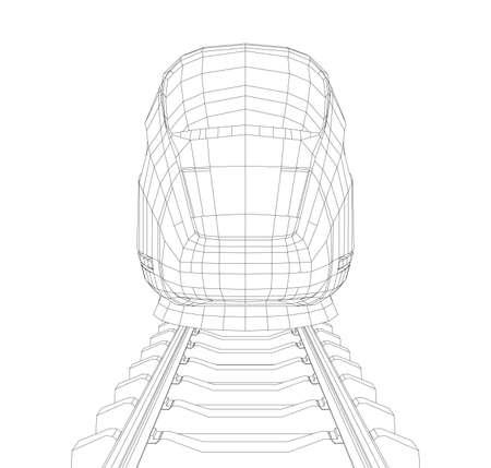 Resumen poligonal de alta velocidad del tren de pasajeros. Concepto de viaje. Representación de vectores de 3d. Estilo de marco de alambre
