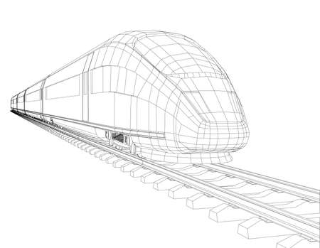 highspeed: High speed train in motion. Vector rendering of 3d. Wire-frame style