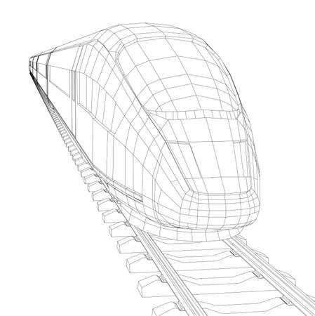 highspeed: Abstract polygonal high-speed passenger train. Traveling concept. Vector rendering of 3d. Wire-frame style