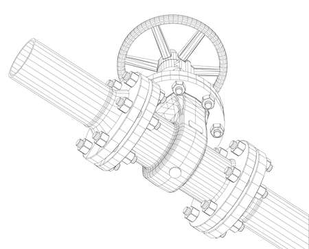Industrial valve. Detailed vector illustration on white background. Vector rendering of 3d. Wire-frame style Illustration