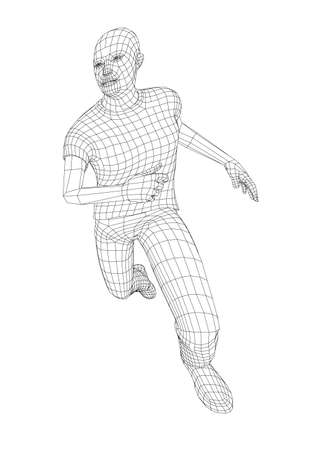 Wire frame running man. Vector rendering of 3d. Technology concept Illustration