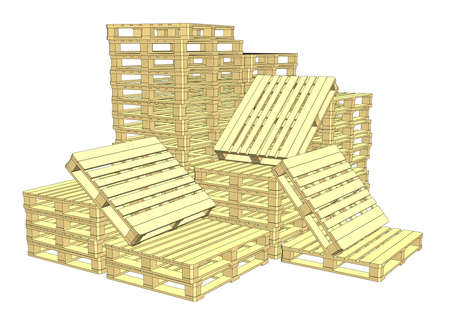 Wooden pallets. Isolated on white Illustration