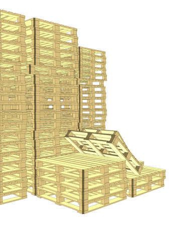 empty warehouse: Wooden pallets. Isolated on white.