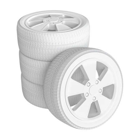 automotive industry: Closeup of white tires