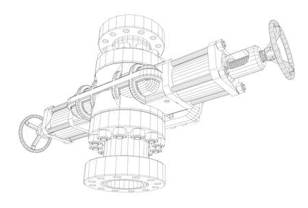 drill: Blowout preventer wire frame style.