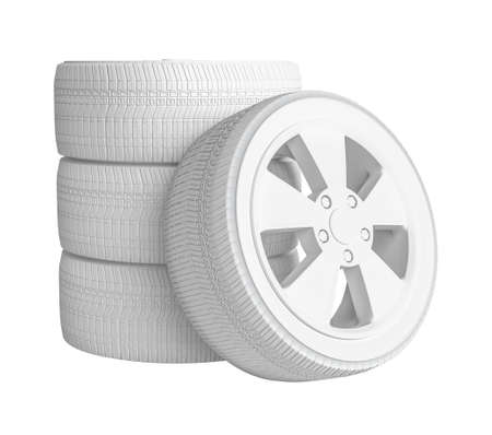 four objects: Closeup of white tires