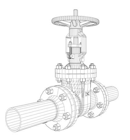 Industrial valve illustration wire-frame style.