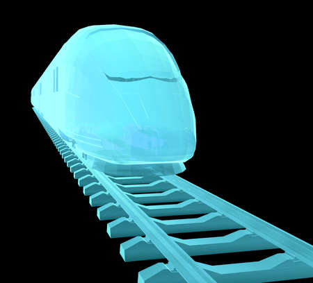 Glow blue high-speed train on black background. 3d illustration