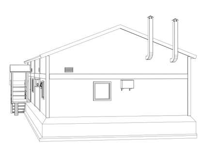 empty warehouse: Wire-frame industrial building on the white background. Vector rendering of 3d. Wire-frame style