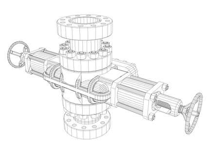Obturateur d'éruption. Style de cadre de fil. Rendu de vecteur de 3d. Concept de l'industrie pétrolière
