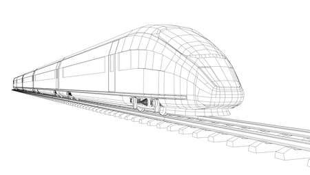 Modern speed train silhouette. Vector rendering of 3d. Wire-frame style 일러스트