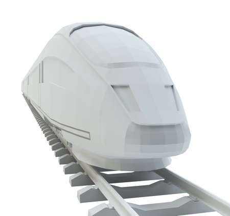 highspeed: White high-speed train, isolated on white background. 3d illustration Stock Photo