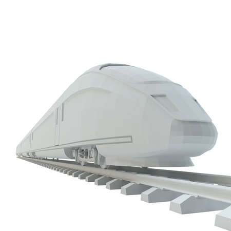 suburban street: White high-speed train, isolated on white background. 3d illustration Stock Photo