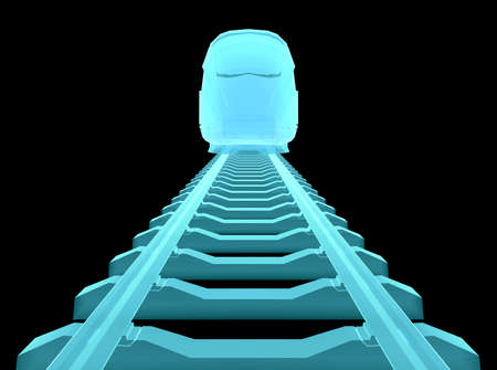 commuter: Glow blue high-speed train on black background. 3d illustration
