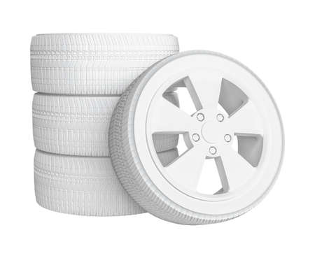 Closeup of white tires, isolated on white background. 3D Illustration