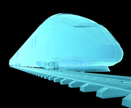 highspeed: Glow blue high-speed train