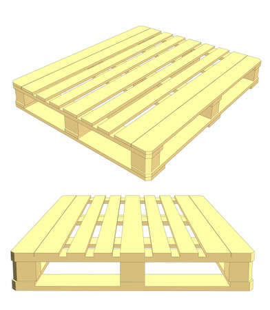 Set of wooden pallet. Isolated on white. Vector Illustration