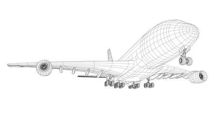 와이어 프레임 스타일의 비행기