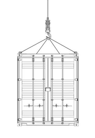 Cargo container hanging on hook of crane Ilustracja