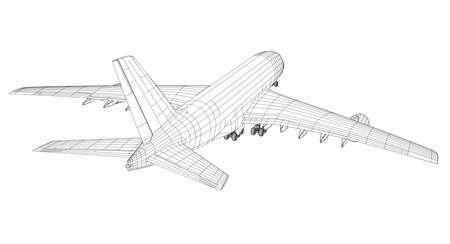 Vliegtuig in draadstijl