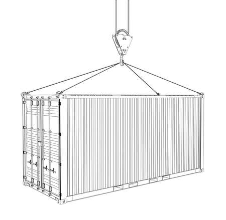 heavy metal: Cargo container hanging on hook of crane Illustration