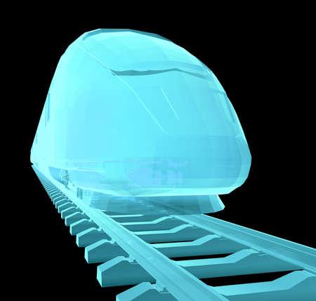 Glow blue high-speed train