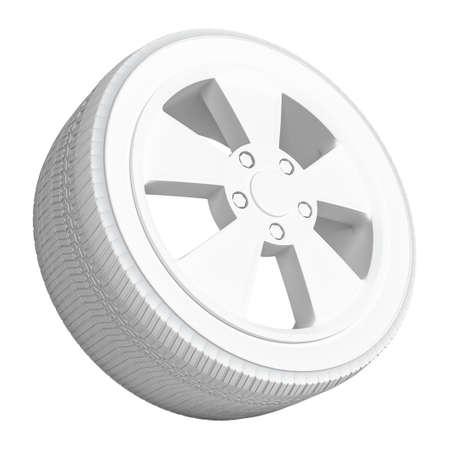 White Car Wheel on White