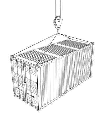 moving box: Cargo container hanging on hook of crane Illustration