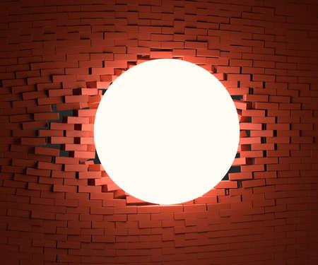 A glowing ball smashed the brick wall