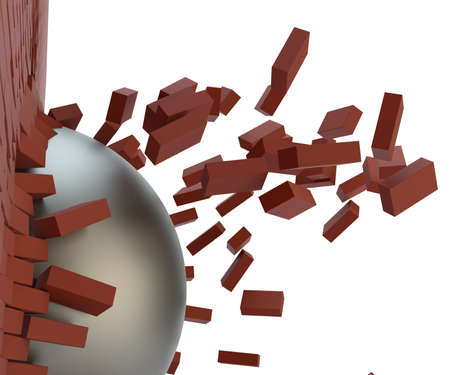 A metal ball broke the brick wall. Close-up. 3d illustration Stock Photo