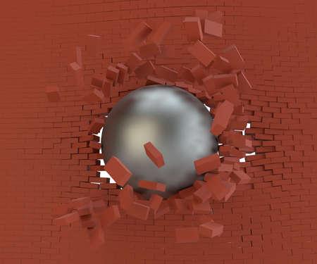 A metal ball broke the brick wall