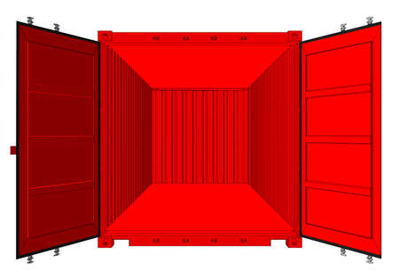 Open shipping container isolated on white, vector illustration.