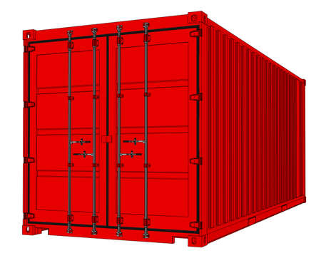 Red cargo container icon.