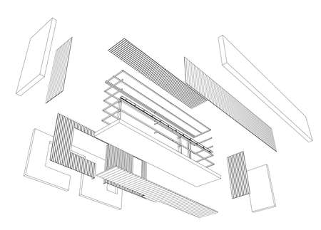 construction project: Architect 3d drawing of balcony