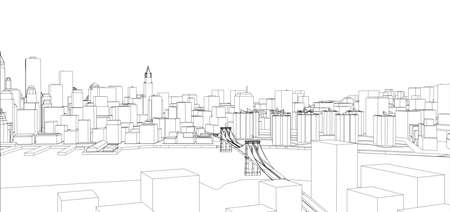 grid pattern: Wire-frame New York City, Blueprint Style. Illustration