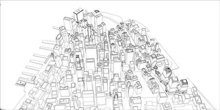 Wire-frame New York City, Blueprint Style. Illustration