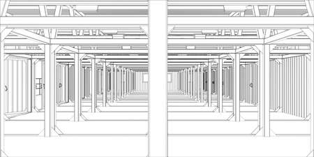 construction project: Illustration of industrial interior.