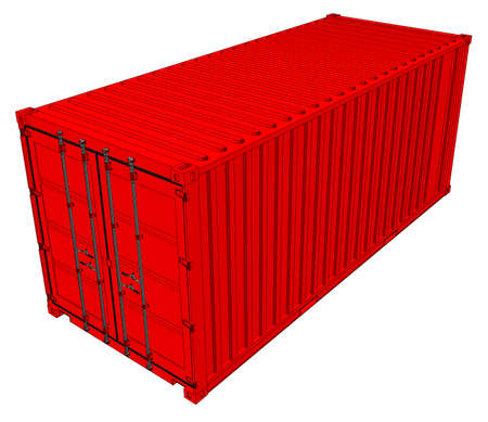 Vector of red cargo container.