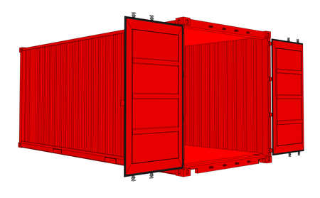 A Vector of open cargo container isolated on white background.