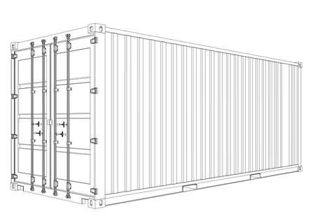 Conteneur de cargaison. Style de cadre de fil.