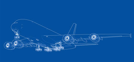 Passenger aircraft. Vector rendering of 3d. Wire-frame style. Stock Illustratie