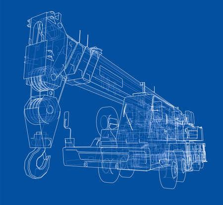 Mobile crane. Иллюстрация