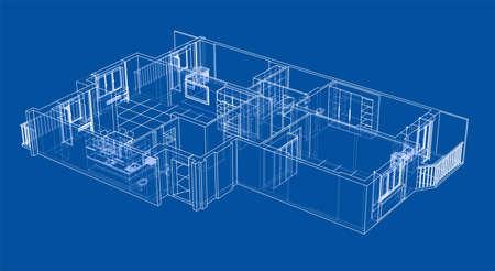 Interior sketch in 3D design.